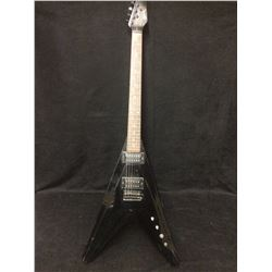 1980'S JAPANESE NECK THROUGH FLYING V ELECTRIC GUITAR (BLACK) W/ BEVILLED TOP