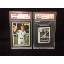 1970 TOPPS #362 JOE HAGUE  & 1969 GLOBE IMPORTS LOU BROCK QUEEN OF DIAMONDS (PSA)