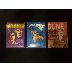 WAX PACK TRADING CARDS LOT (STAR TREK, THE BLACK HOLE, DUNE)
