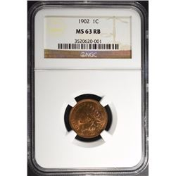 1902 INDIAN CENT NGC MS-63 RB
