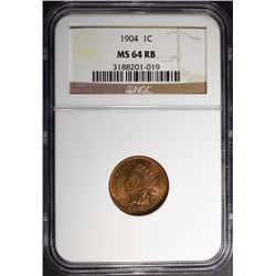 1904 INDIAN CENT NGC MS-64 RB