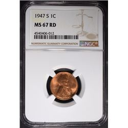 1947-S LINCOLN CENT NGC MS67 RD