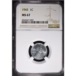 1943 STEEL CENT NGC MS-67