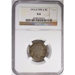 1913-S T-2 BUFFALO NICKEL NGC G-6