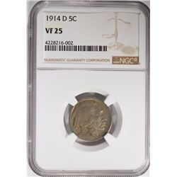 1914-D BUFFALO NICKEL NGC VF-25