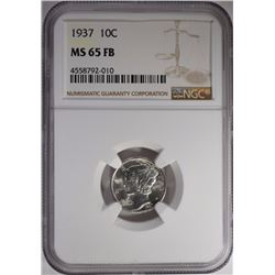 1937 MERCURY DIME NGC MS-65 FB