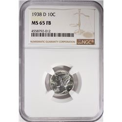 1938-D MERCURY DIME NGC MS-65 FB