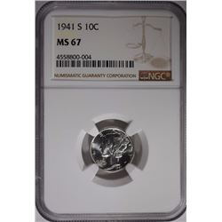 1941-S MERCURY DIME NGC MS-67