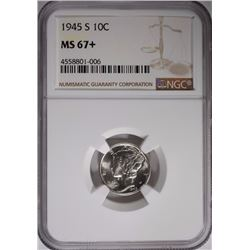 1945-S MERCURY DIME NGC MS-67+
