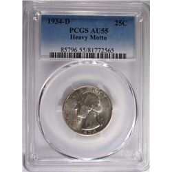 1934-D WASH QUARTER PCGS AU-55 HEAVY MOTTO