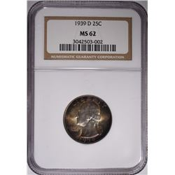 1939-D WASH QUARTER NGC MS-62