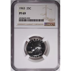 1963 WASH QUARTER NGC PF-69