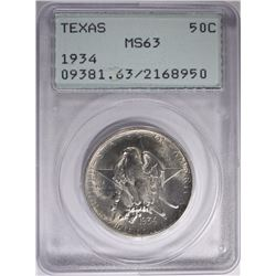 1934 TEXAS HALF DOLLAR PCGS MS-63