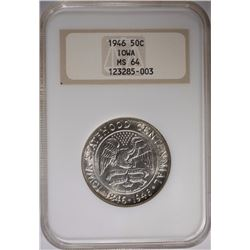 1946 IOWA HALF DOLLAR, NGC MS-64