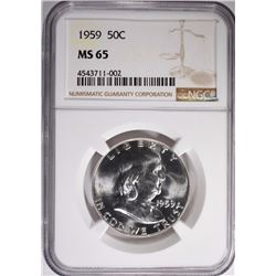 1959 FRANKLIN HALF DOLLAR NGC MS-65