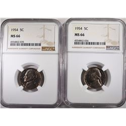 2 1954 JEFFERSON NICKELS NGC MS66