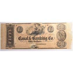 1800's $50 CANAL & BANKING CO. GEM CU w/SIDE