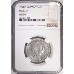 1908A SILVER 2MARKS PRUSSIA GERMANY NGC AU 50