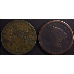 LARGE CENTS: 1843 F/VF & 1847 GOOD