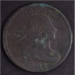 1804 DRAPED BUST HALF CENT, G/VG corrosion
