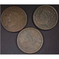 LARGE CENTS: 1836-G, 1840-F & 1844 VG