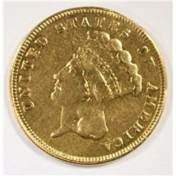 1889 $3.00 GOLD, XF MOUNT REMOVED, RARE