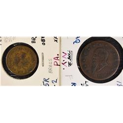 2-CIVIL WAR STORE CARD TOKENS, ATTRIBUTED