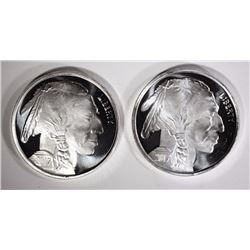 2- ONE OUNCE .999 SILVER ROUNDS INDIAN/BUFFALO