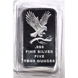 5 OUNCE .999 SILVER BAR EAGLE DESIGN