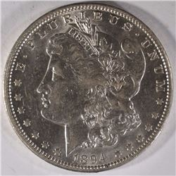 1894-O MORGAN SILVER DOLLAR CH AU  SEMI KEY,