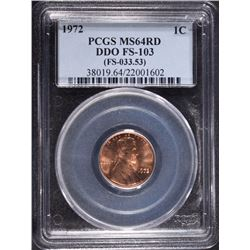 1972 LINCOLN ONE CENT DDO FS-103 (033.53) PCGS
