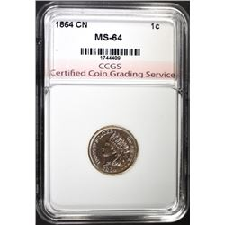 1864 COPPER NICKEL INDIAN CENT, CCGS CH/GEM BU