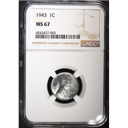 "1943 LINCOLN ""STEEL"" CENT, NGC MS-67"