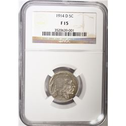 1914-D BUFFALO NICKEL, NGC FINE-15