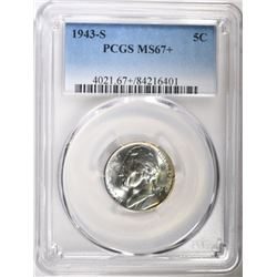 1943-S JEFFERSON NICKEL, PCGS MS-67+ TOP POP