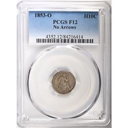 1853-O NO ARROWS SEATED HALF DIME, PCGS FINE-12