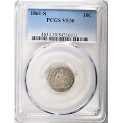 1861-S SEATED DIME, PCGS VF-30