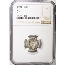 1921 MERCURY DIME, NGC GOOD-4 KEY DATE