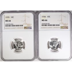 1935 & 1936 MERCURY DIMES, NGC MS-66