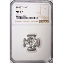 1945-D MERCURY DIME, NGC MS-67