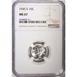 1945-S MERCURY DIME, NGC MS-67