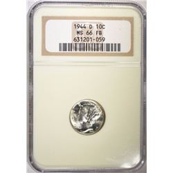 1944-D MERCURY DIME, NGC MS-66 FB