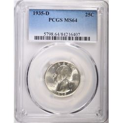 1935-D WASHINGTON QUARTER, PCGS MS-64
