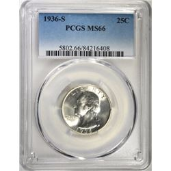 1936-S WASHINGTON QUARTER, PCGS MS-66