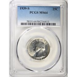1939-S WASHINGTON QUARTER, PCGS MS-64