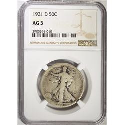 1921-D WALKING LIBERTY HALF DOLLAR, NGC AG-3