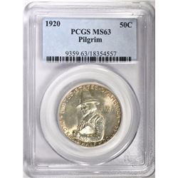 1920 PILGRIM COMMEM HALF DOLLAR, PCGS MS-63