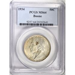 1934 BOONE COMMEM HALF DOLLAR, PCGS MS-64