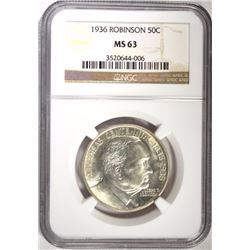1936 ROBINSON-ARKANSAS HALF, NGC MS-63