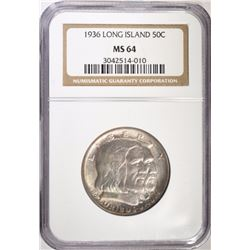 1936 LONG ISLAND COMMEM HALF DOLLAR, NGC MS-64